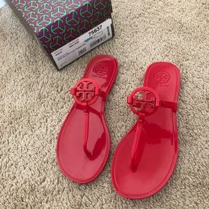 New Tory Burch Miller red jelly sandal size 6